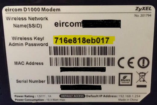 Support | Change Your Modem Admin Password | eir ie