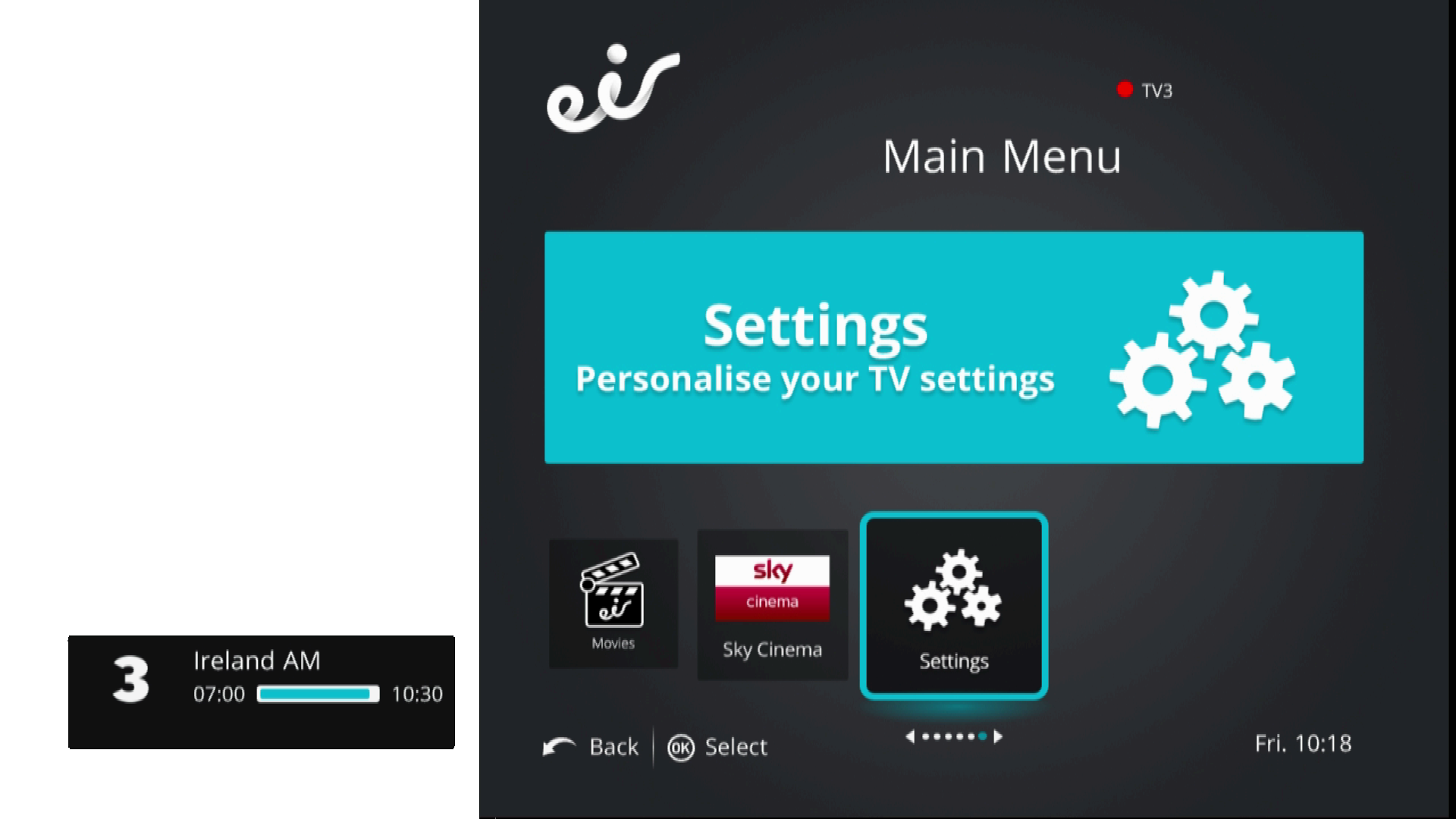 settings personalise your tv